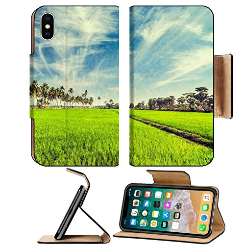 MSD Premium Apple iPhone X Flip Pu Leather Wallet Case Vintage retro hipster style travel image of rural Indian scene rice paddy field and palms with grunge texture overlaid Tamil - Tamil Hot New