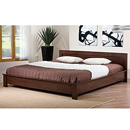 Amazoncom Modern Wooden Platform Bed With Headboard Solid Rubber