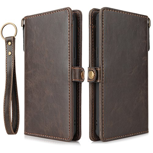 Samsung Galaxy S9 Plus Wallet Brown Case, [Folio Cover] [Stand Feature] Premium Credit Card Flip Case Protective Luxury PU Leather with Card Slot + Side Pocket Magnetic Closure