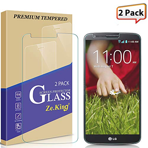 [2-Pack] LG G2 Tempered Glass Screen Protector, ZeKing 0.33mm 2.5D Edge 9H Hardness [Anti Scratch][Anti-Fingerprint] Bubble Free, Lifetime Replacement Warranty (Best Glass Screen Protector For Lg G2)