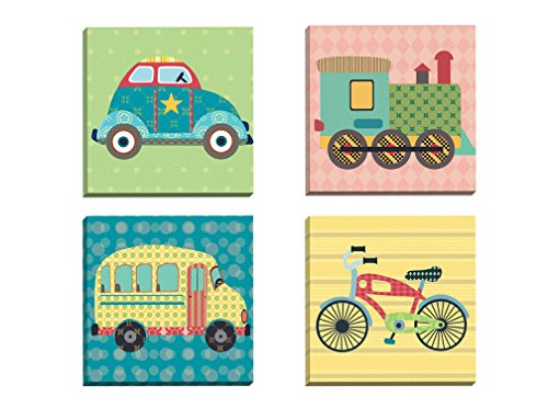 Portfolio Canvas Decor Framed and Stretched Ready to Hang Getting There Bike Canvas Wall Art by Sandy Doonan (Set of 4), 12 x 12/Large
