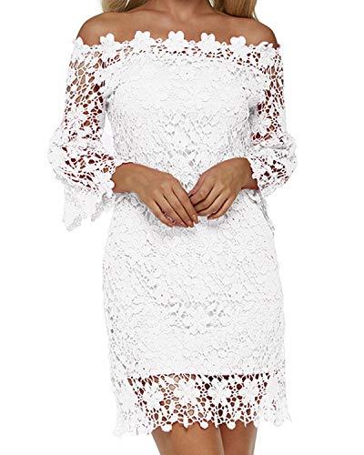 Auxo Mujer Vestido Corto Elegante Vestidos Encaje Florales Retro Con Manga Larga Cuello Halter de Fiesta Cóctel Otoño Invierno