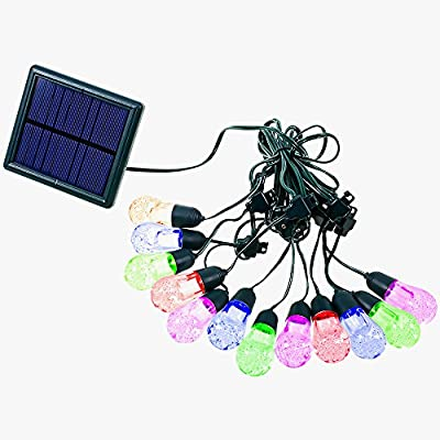 Multi Color Outdoor String Lights, Solar Powered 12 RGB LED Lamps Bulbs for Gazebo Home Patio Party Christmas Holiday Wedding Events Decorations (17.4FT)