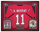 Aaron Murray Georgia Bulldogs Autographed Custom Jersey w/ SEC Record Stats Inscription in Custom Shadow Box JSA