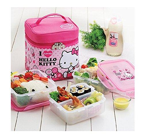 Lock & Lock Hello Kitty Baby Children Check Bag Lunch Box Set 3-tier 870ml 3pcs (Lkt741)