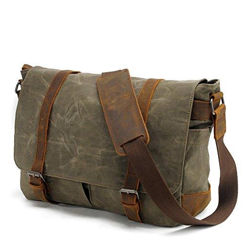 Waterproof Canvas Laptop Messenger Bag Men Business Vintage shoulder bag / Briefcase (Army green)