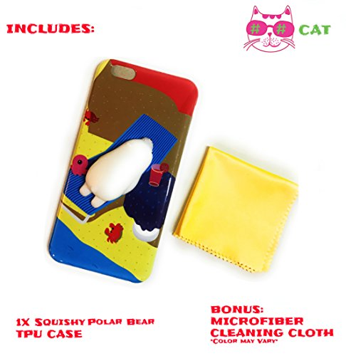 Squishy Phone Case for iPhone 6 / 6s Plus TPU Bumper Squishy Cat Cell Phone Case Kawaii Squishies Premium Super Soft Silicone with Microfiber Cloth For Cleaning (Polar (Watch Baby Seal)