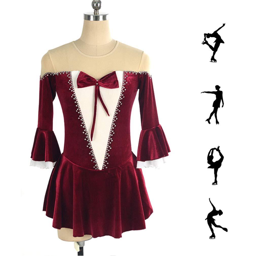DUBAOBAO Eiskunstlaufkleid Damen Mädchen Skatingkleid, hohe hohe hohe Stretch-   Wettkampf-Skatingkleid atmungsaktiv, handgefertigt halbe Ärmel B07MQFC43H Bekleidung Flagship-Store 11275e