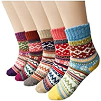 Aeoss Women's 3 Pairs Vintage Style Winter Knitting Warm Wool Crew Socks, A-Wave, Free Size Multicolor