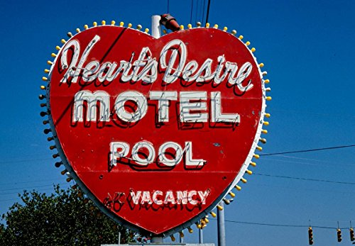 - Roadside America Photo Collection | 1980 Heart's Desire Motel Sign, Route 19A, Dunedin, Florida | Photographer: John Margolies | Historic Photographic Print 14in x 11in