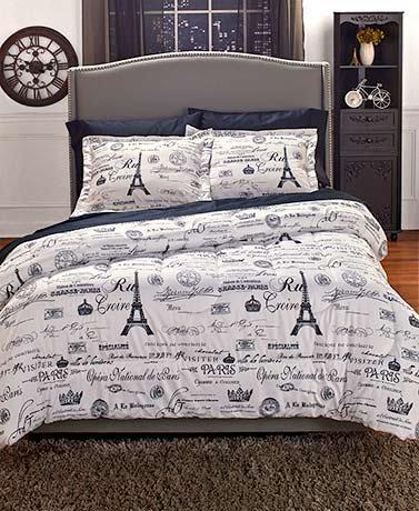 Vintage Paris Comforter Set Full/Queen