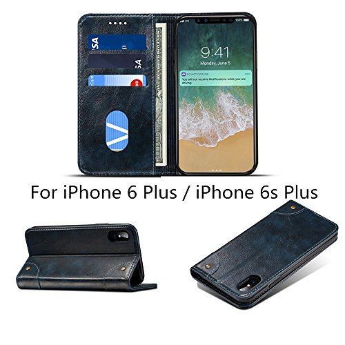 iPhone 6s Plus 5.5'' Case and Cover,Hulorry Heavy Duty Protection Folio Case,Wallet Slot Attachment 2 in 1,Soft TPU Case,360 Degree Protection Cover for iPhone 6 Plus/6s Plus 5.5'' by Hulorry