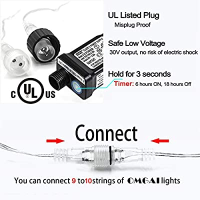 OMGAI LED String Light - 100 LED Plug in Fairy Light 8 Modes with Timer Waterproof 49.2ft 30V Low Voltage Adapter Extendable Perfect for Indoor and Outdoor Decoration WarmWhite