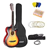 """ammoon 38"""" 6-String Cutaway Folk Acoustic Guitar with Bag Strap String Tuner Pick for Beginners Music Lovers Students"""