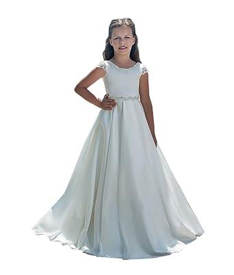 Amazon.com: SHENLINQIJ Satin White Flower Girls Dresses Kids First ...