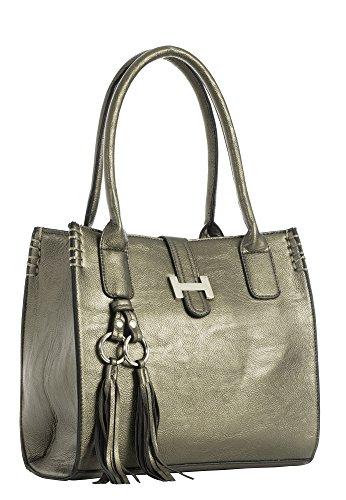 Top Handle Shop Medium Gunmetal Shoulder Vegan Bag in Design Womens Big Satchel Various Leather Size Handbag x0nqf58FS