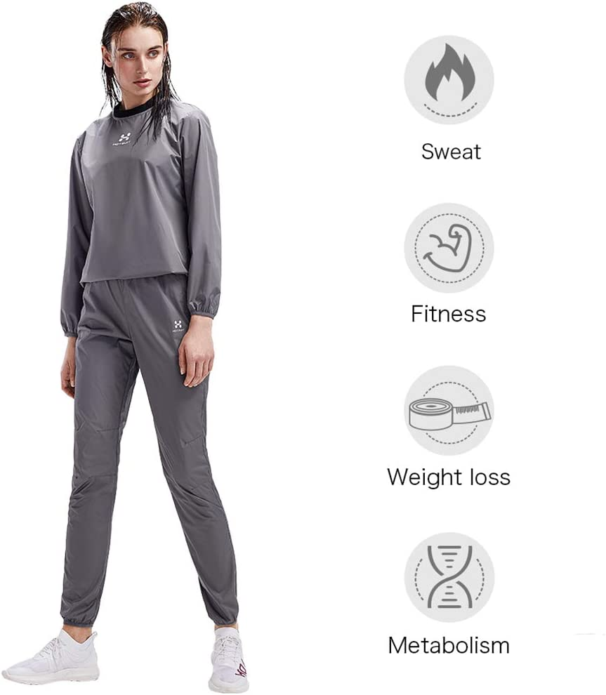 HOTSUIT Sauna Suit Women Weight Loss Gym Workout Tracksuit Sweat Suits Grey S