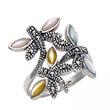 Sterling Silver Dragonflies Ring with Marcasite Stones & Mixed Color Shell