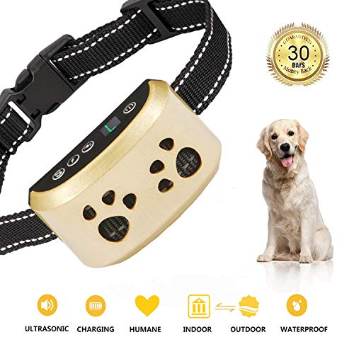 [2019 Upgrade Version]Dog Bark Collar-7 Adjustable Sensitivity and Intensity Levels-Dual Anti-Barking Modes-Rechargeable-Rainproof-No Barking Control Dog shock Collar for Small, Medium, Large Dogs ()
