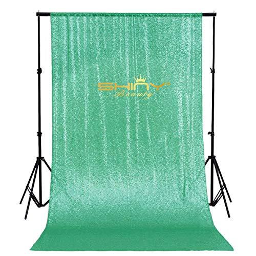 ShinyBeauty Sequin Backdrop 8FTx8FT-Mint,Sequin Curtain Photography Decoration Photo Studio Video Background Exclusive Design Wedding PhotoBooth (Mint) ()