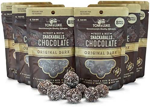 Tom & Luke Healthy Snacks (6 Packs x 8 Balls) - Delicious Original Dark Chocolate Snack Balls for Adults - Gluten Free, Dairy Free, Vegan & No Added Refined Sugar - Whole Food Fruit & Nut Energy Boost