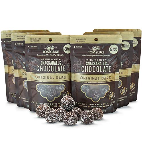 Tom & Luke Healthy Snacks (6 Packs x 8 Balls) - Delicious Original Dark Chocolate Snack Balls for Adults - Gluten Free, Dairy Free, Vegan & No Added Refined Sugar - Whole Food Fruit & Nut Energy Boost (Divine Chocolate Chips)