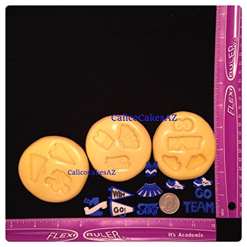 Cheer Cheerleading Fondant Mold Set Chocolate Candy Gumpaste Soap Resin Clay