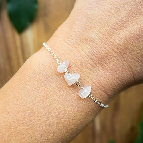 (Rose Quartz beaded chain crystal bracelet in 925 sterling silver - 6