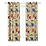 "Kids Room Cartoon Blackout Curtains Cute Animal Zoo Printed Metal Grommets Top Window Drapes for Bedroom,1Pair (42""Wx84""L,Zoo)"