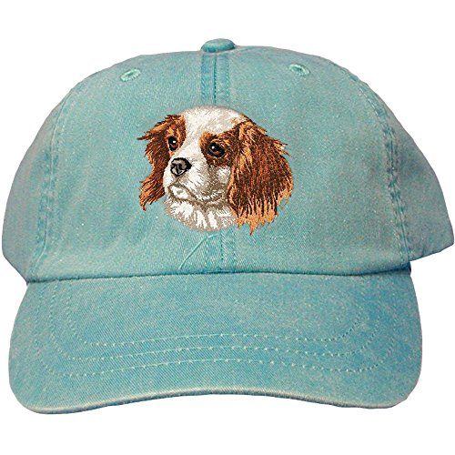 Cherrybrook Dog Breed Embroidered Adams Cotton Twill Caps - Caribbean Blue - Cav. King Charles Spaniel (Spaniel Embroidered Hat)