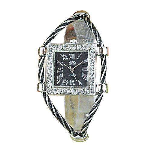 Reloj de pulsera de mujer - CUSSI Reloj de pulsera de brazalete cuadrado de esfera numeral