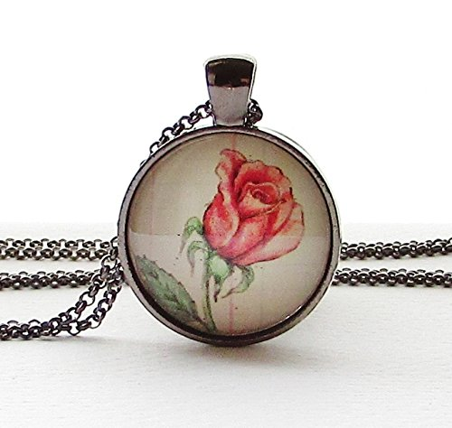 Amazon Com Rose Birth Month Flower June Necklace Glass Pendant