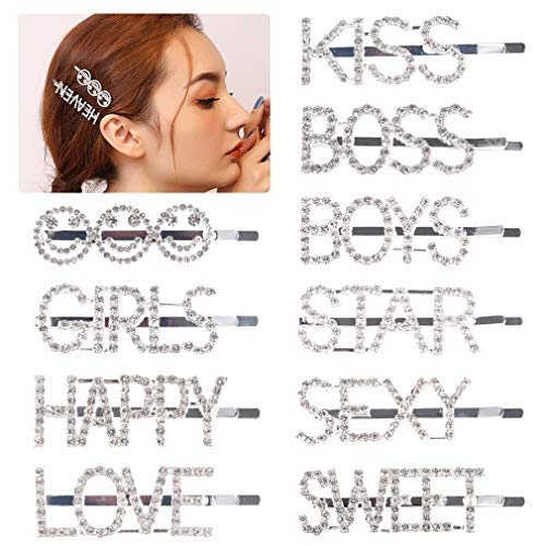 10PCS Sparkly Letter Hair Clip Word Barrettes Pins Crystal Bobby Pins Bling Handmade Luxury Rhinestones Hair Jewellery Headwear Accessories Gold for Women Girls
