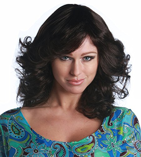 Premium Quality 1970's Charlie's Angels Feathered Fashion Wig - Brown (Angel Brown Wig)