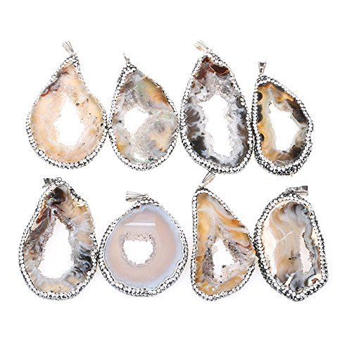 (20-40mm Irregular Shape Agate Slice Pendant Micro Pave CZ Diamond for Jewelry Making(Pack of 5pcs))