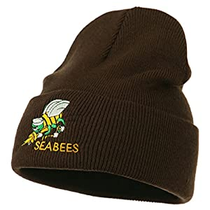 Navy Seabees Symbol Embroidered Cuff Long Beanie - Brown