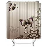 60'x72' Cartoon Flower Butterfly Starlight Shower Curtain Animal Theme Home Decor Waterproof Bath Curtains Custom Brown Gray Designs Bathroom Set