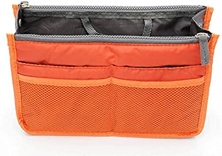 Terryshop74 Sac Organiseur pour Femme avec de Nombreux Compartiments avec Fermeture /éclair et poign/ée de Transport Organise Parfaitement Votre Sac Orange Arancio 2x22x35