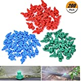Eshylala 200 Pack Atomizing Sprinkler Garden Watering Irrigation Atomizing Sprinkle 360 Degree Refraction Spray, Random Colors