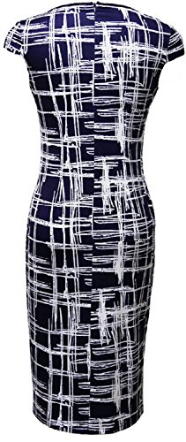 Summer Wear Casual Print Blue Caat Sheath Aycox Work Women's to Dress Striped Black nZEaOp