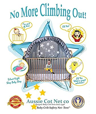 Best Baby Crib Tent - Trusted - Premium - Safe - Proven to Keep Your Baby from Climbing and Falling Out of The Crib. Superior Quality - Original Australian Design Pop Up Crib Canopy