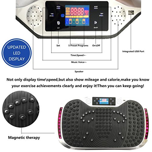 Reliancer Built-in Music Player Fitness Vibration Platform Whole Full Body Shaped Crazy Fit Plate Massage Workout Trainer Exercise Machine Plate w/Integrated USB Port&LED Light (W/Music-Pink) by Reliancer (Image #3)