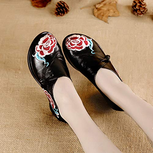 Coarse Soled Shoes Heel Leather KPHY Shoes Wind Girl Soft Ethnic Heeled Comfort Spring Single Autumn And Medium Black Battle Mother'S Shoes Shoes RBqfBYnF