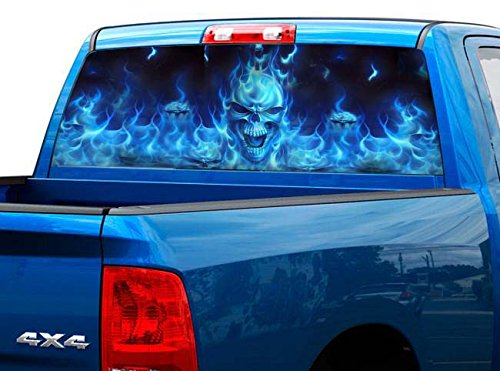 P492 Flaming Skull Tint Rear Window Decal Wrap Graphic Perforated See Through Universal Size 65