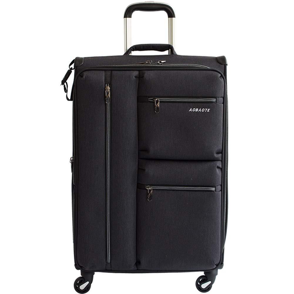 ZHANGQIANG ハンドトラベル荷物トロリーケース 紡績工の荷物は黒いスーツケースの軽量のABS旅行荷物のトロリー箱を置きます (色 : ブラック, サイズ さいず : 66*42*23(24)) B07S23F9F9 ブラック 66*42*23(24)