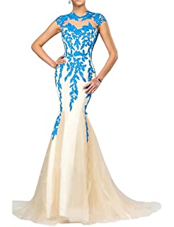 FOLOBE Lace Applique Mother Of The Bride Dress Mermaid Formal Evening Gown Long