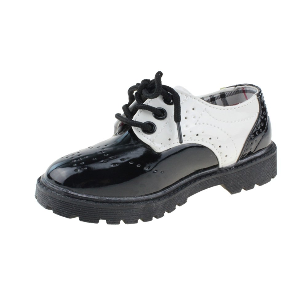 Maxu Children's Oxford Dress Shoes Lace Up,Black with White,Little Kid Size 1.5