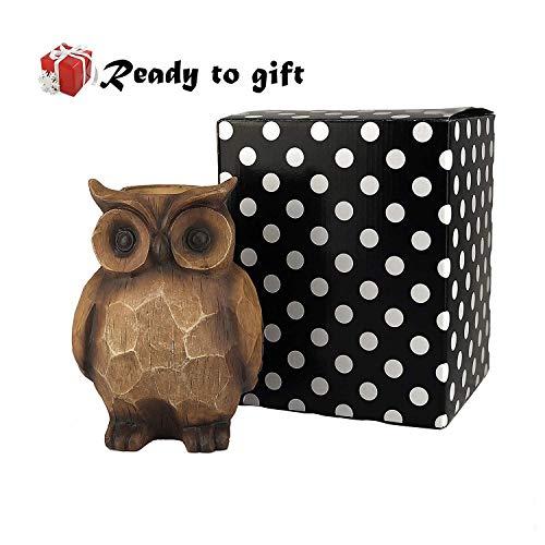 PoPo Kids Exclusive Resin Owl Succulent Planter Rustic Candle Holder Indoor Outdoor Garden Yard Décor Figurine