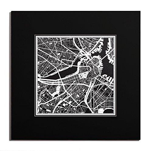 O3 Design Studio Boston Paper Cut Map Matted Black 20x20 inches Paper - Boston Airport Map