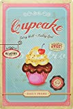 """Cupcake Eating Well Feeling Good, Metal Tin Sign, Wall Decorative Sign, Size 8"""" X 12"""""""
